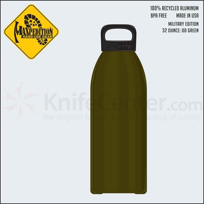 Maxpedition LB32MILG 32oz Water Bottle  inchMILITARY inch, OD Green