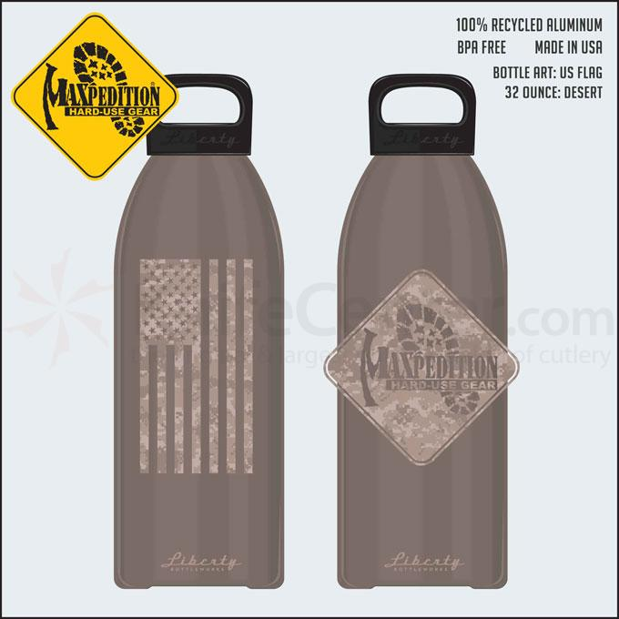 Maxpedition LB32FLAGD 32oz Water Bottle  inchFLAG inch, Desert Tan