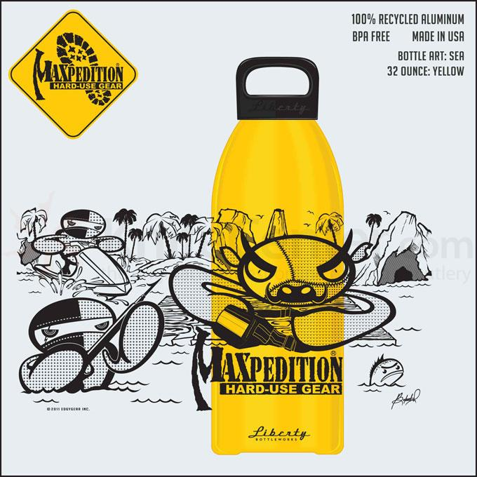 Maxpedition LB32SEAW 32oz Water Bottle  inchSEA inch, Yellow