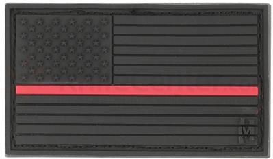 Maxpedition PVC Small USA Flag Patch, Firefighter Thin Red Line