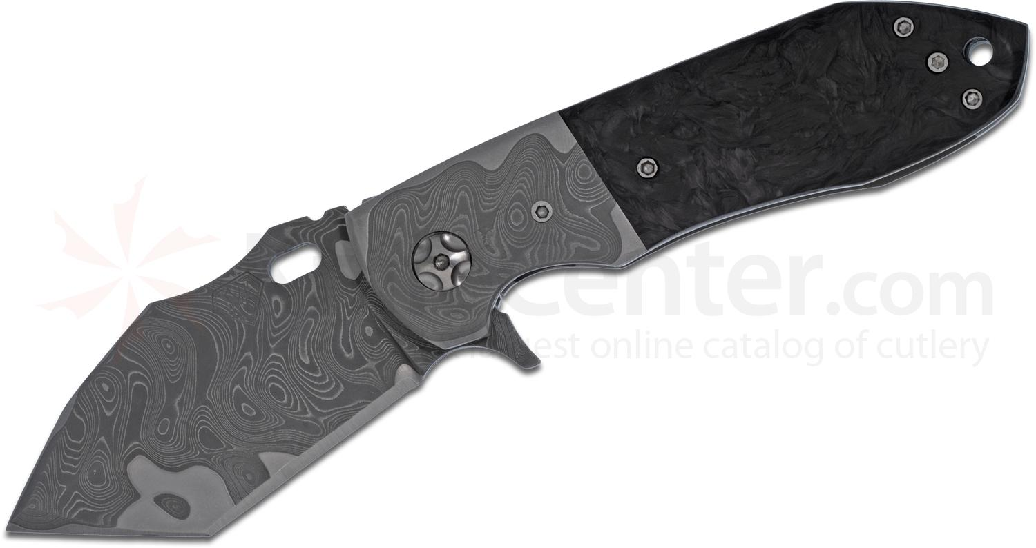 Mazur Customs Sin Eater V2 Flipper 3 inch Nichols Armor Core Damascus Blade, Carbon Fiber Handle with Damascus Bolster/Clip