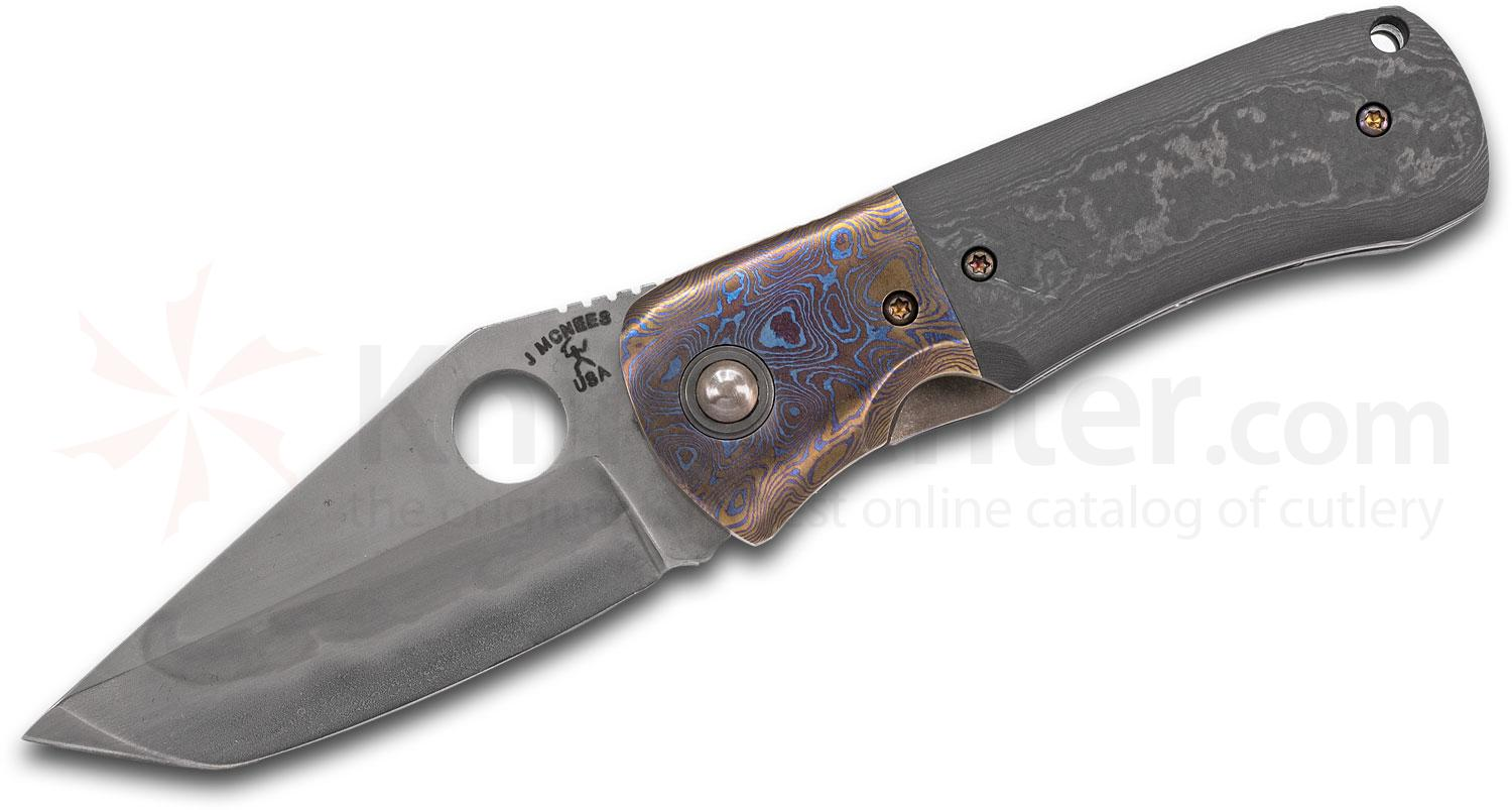 Jonathan McNees Custom Dixon Folding Knife 3.25 inch 1095 Hamon Tanto Blade, Carboquartz Handles with Mokuti Bolsters and Clip, Zirconium Spacer