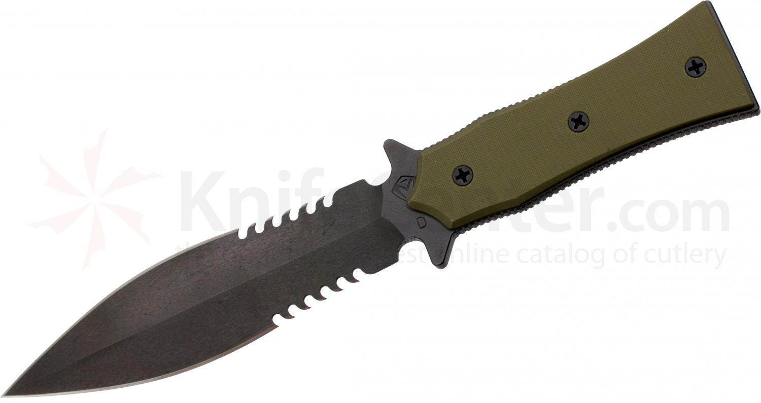 Medford BOA-P Tactical Fixed 5-1/4 inch D2 Double Edge Combo Blade, OD Green G10 Handle, OD Kydex Sheath
