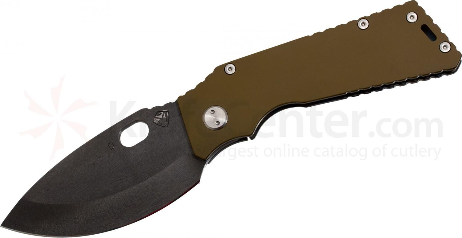 Medford TFF1 Tactical Fighting Folder Custom Medford Logo 4-1/2 inch Black D2 Plain Spear Point Blade, Coyote Brown/Flamed Titanium Handles