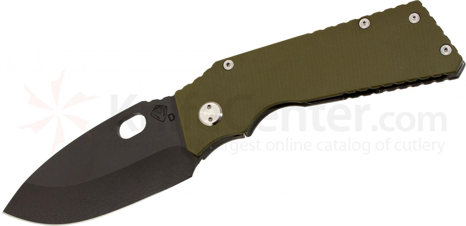 Medford TFF1 Tactical Fighting Folder 4-1/2 inch Black D2 Plain Spear Point Blade, OD Green G10/Tumbled Titanium Handles