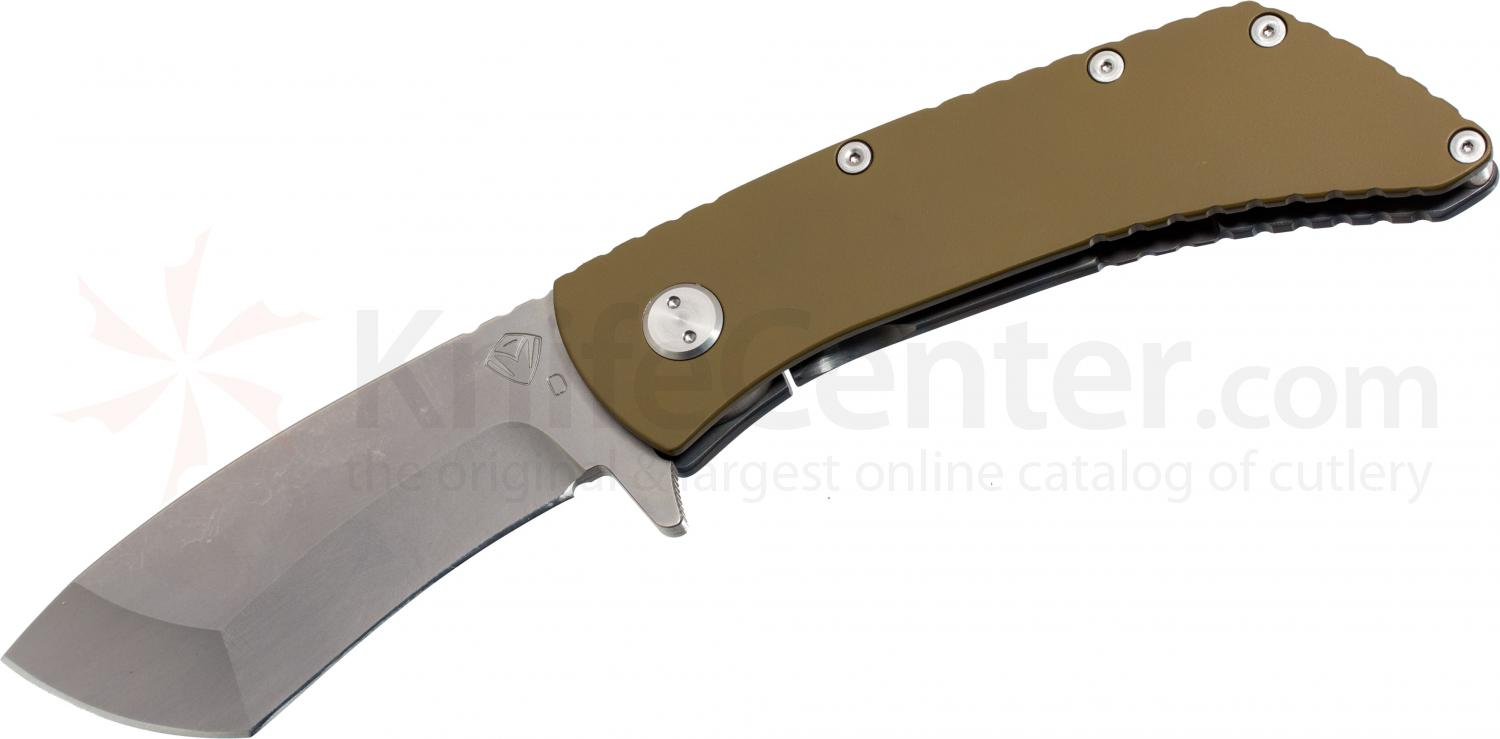 Medford TFF2 TF Series Folder 4 inch D2 Satin Plain Tanto Blade, Coyote Brown/Flamed Titanium Handles