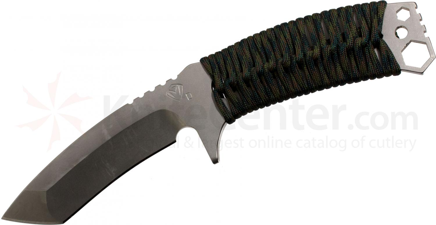 Medford TST1 Tactical Service Tanto Fixed 2.25 inch Satin D2 Plain Blade, Woodland Camo Handle, OD Kydex Sheath
