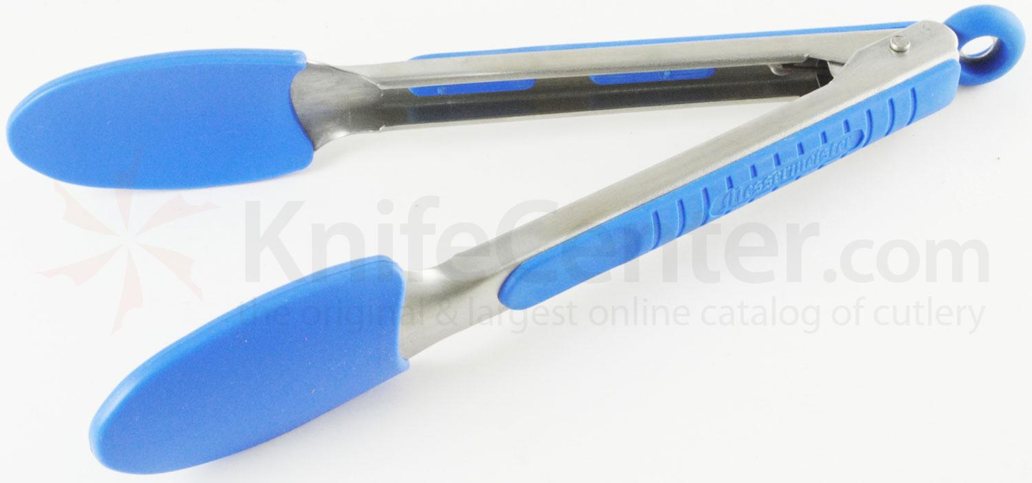 Messermeister 9 inch Silicone-Coated Locking Tongs, Blue (Resistant up to 430°F)
