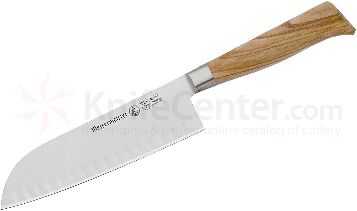 Messermeister Oliva Elite 7 inch Kullenschliff Santoku Knife, Olive Wood Handle