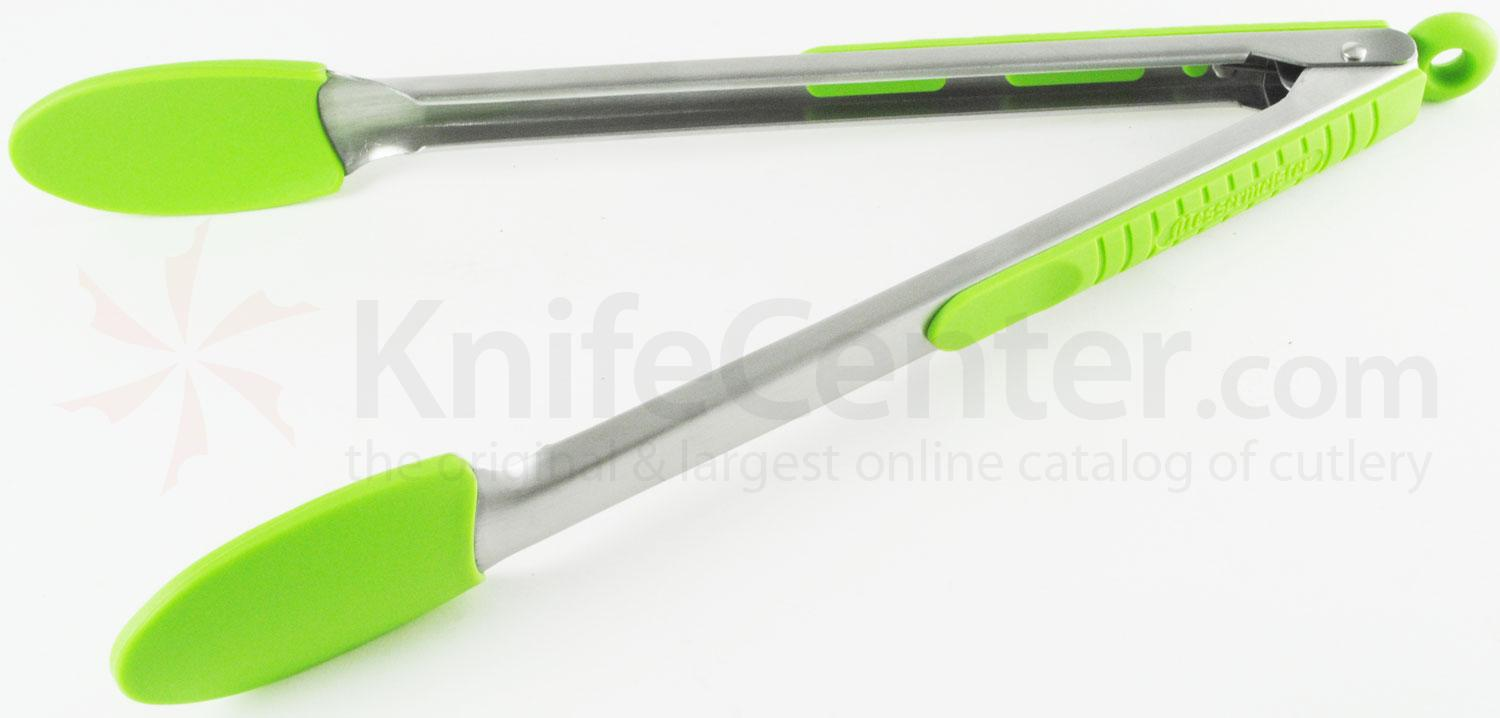 Messermeister 12 inch Silicone-Coated Locking Tongs, Green (Resistant up to 430°F)