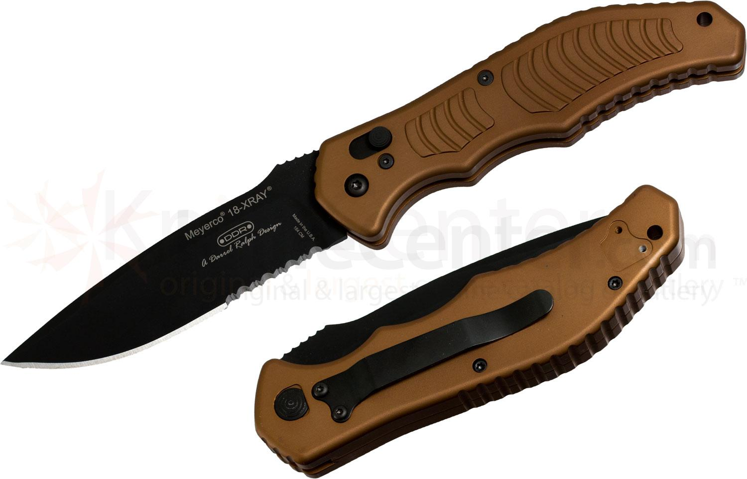 Meyerco Darrel Ralph Military X-Ray AUTO 3-13/16 inch Black Serrated Blade, Flat Dark Earth Handles