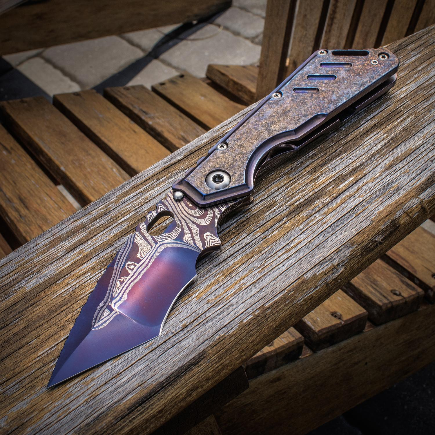 Mick Strider Custom XL SnG Folding Knife 4.5 inch Damascus Hand Ground Nightmare Tanto Blade, Textured Flamed Titanium Handles