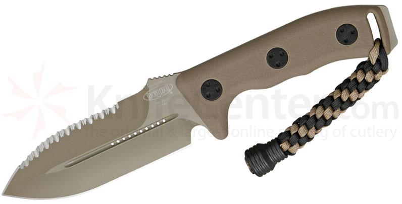 Microtech 101-3TA Crosshair Combat Knife Fixed 4.5 inch Tan Serrated/Plain Double Edge Blade, Kydex Sheath