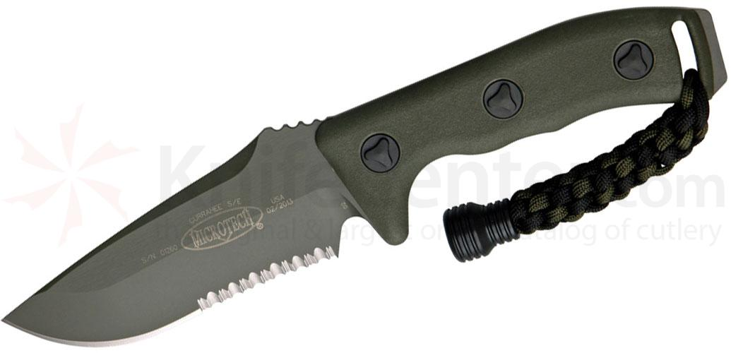 Microtech 102-2GR Green Currahee Combat Fixed 4.5 inch Single Combo Edge Blade, Kydex Sheath