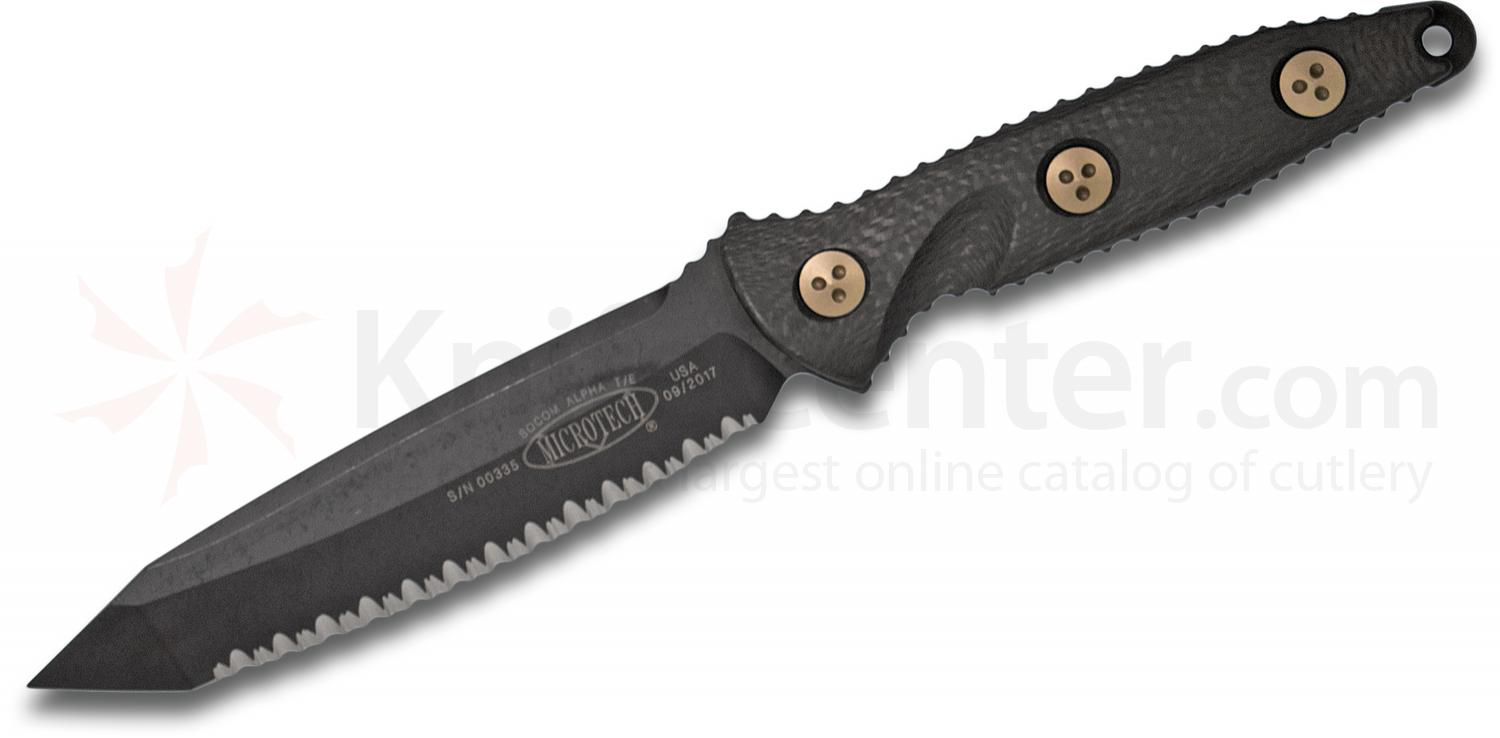 Microtech 114-3DLC Socom Alpha Fixed 5.45 inch Black DLC Tanto Fully Serrated Blade, Carbon Fiber Handles, Kydex Sheath