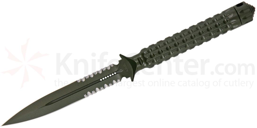 Microtech 115-2GR Green Spear Point ADO Fixed 4.5 inch Double Combo Edge Blade, Hollow Handle