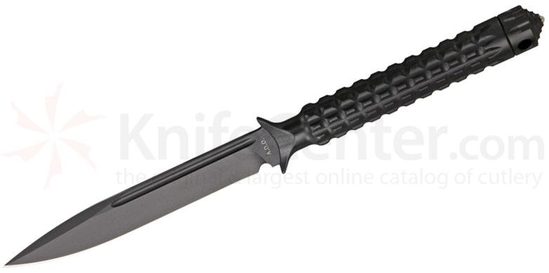 Microtech 116-1 Black Drop Point ADO Fixed 4.5 inch Single Plain Edge Blade, Hollow Handle