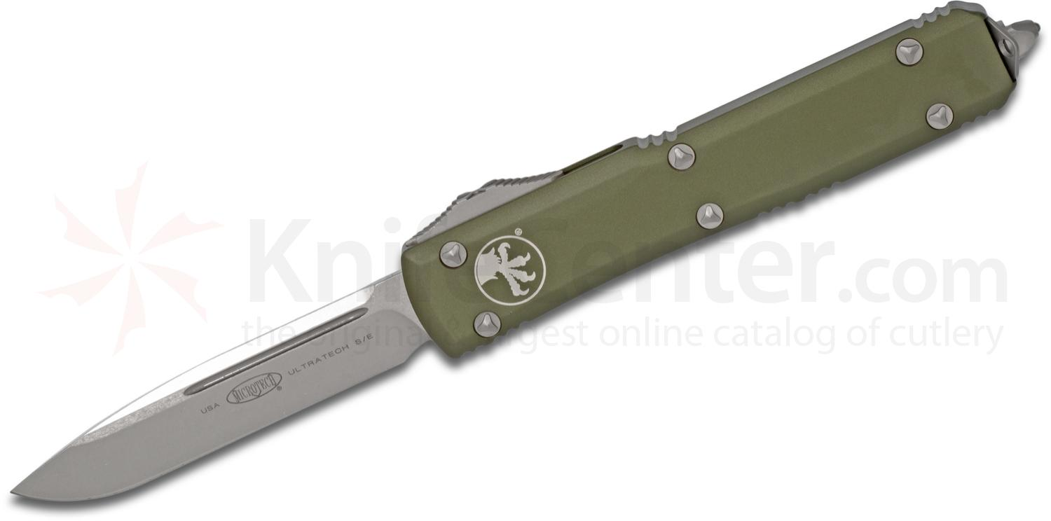 Microtech 121-10OD Ultratech AUTO OTF 3.46 inch Stonewashed Plain Drop Point Blade, OD Green Aluminum Handle