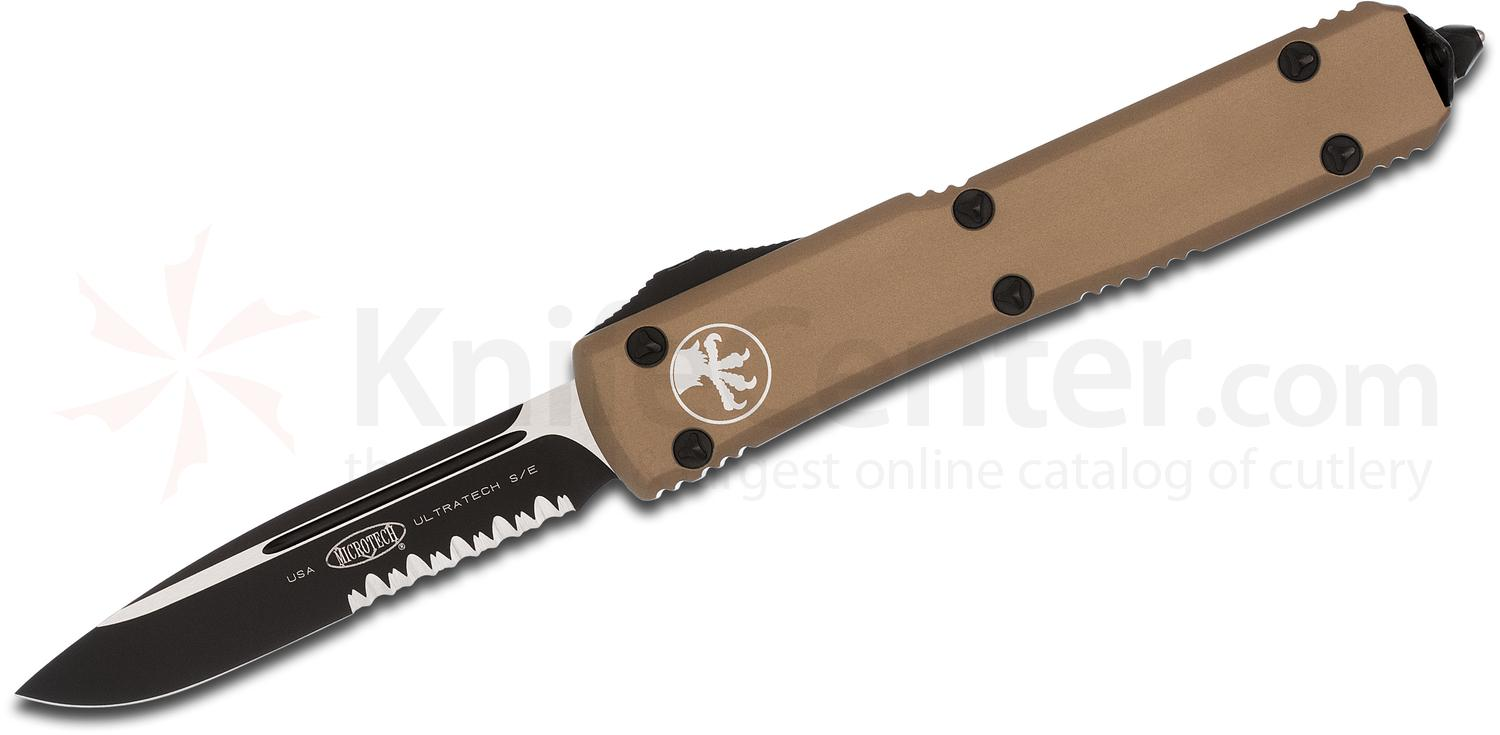 Microtech 121-2TA Ultratech AUTO OTF 3.46 inch Black Combo Drop Point Blade, Tan Aluminum Handle