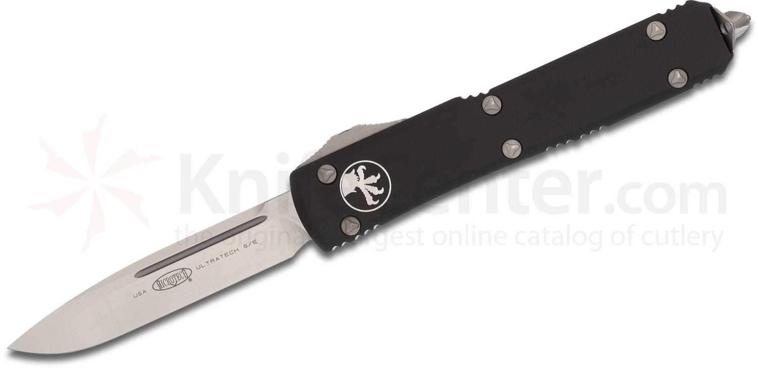 Microtech 121-4 Ultratech AUTO OTF 3.46 inch Satin Plain Drop Point Blade, Black Aluminum Handle