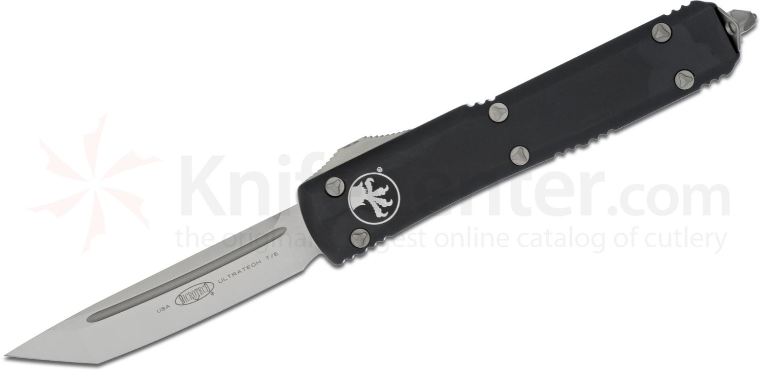 Microtech 123-4 Ultratech AUTO OTF 3.46 inch Satin Plain Tanto Blade, Black Aluminum Handle