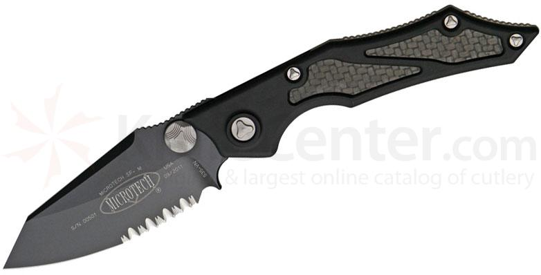 Microtech 129-2 Select Fire Manual 3.5 inch Black Combo Blade, Aluminum Handles with Carbon Fiber Inserts