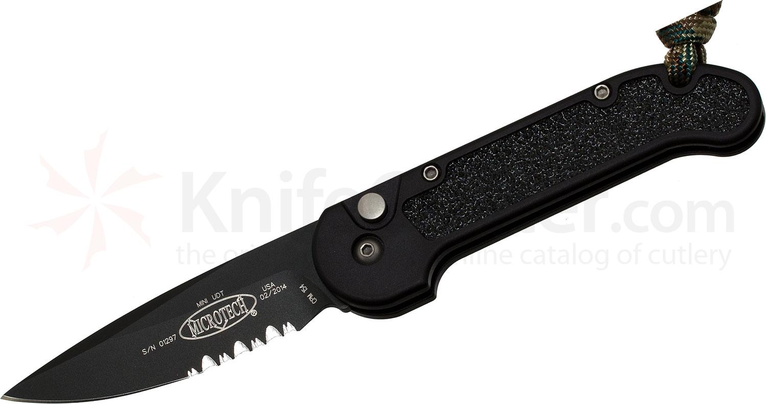 Microtech 155-2 Mini UDT AUTO 2-3/8 inch Black Combo Blade, Aluminum Handles