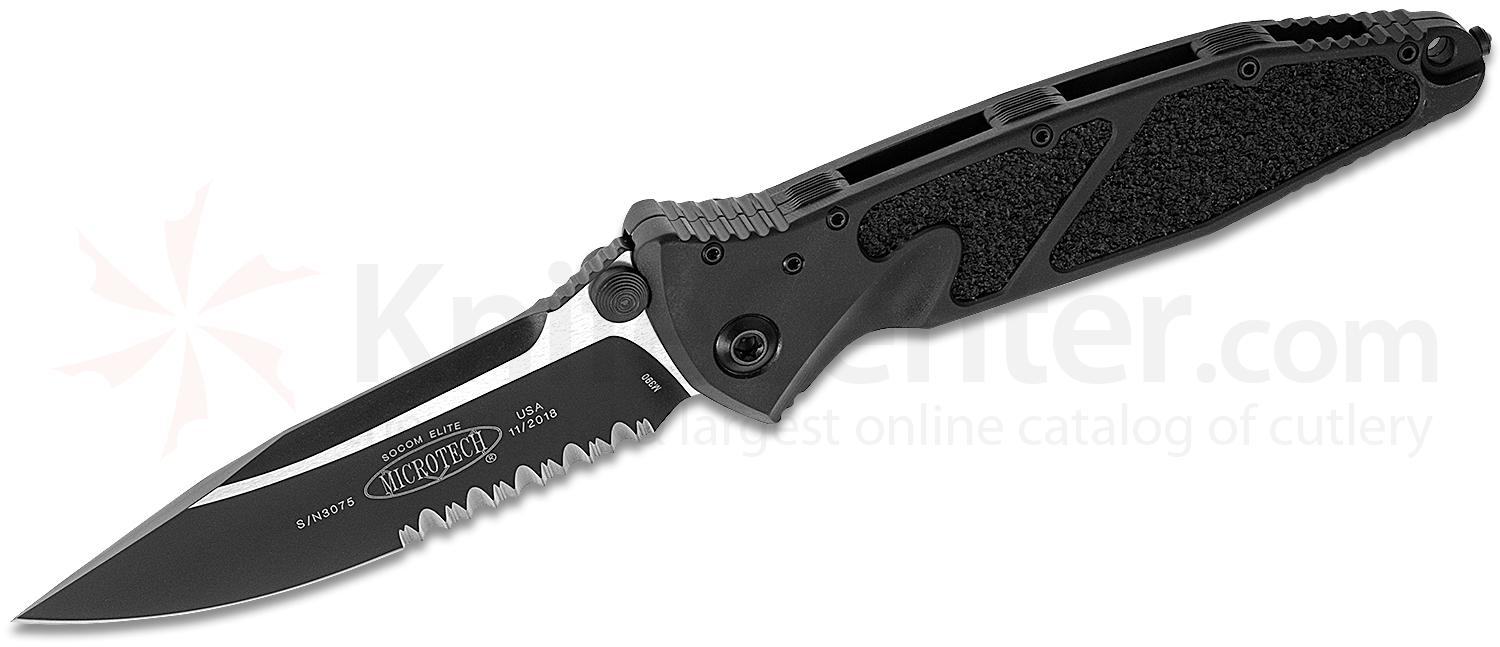Microtech 160-2T Socom Elite Tactical Manual Folding Knife 4.05 inch Black Clip Point Combo Blade, Black Aluminum Handles