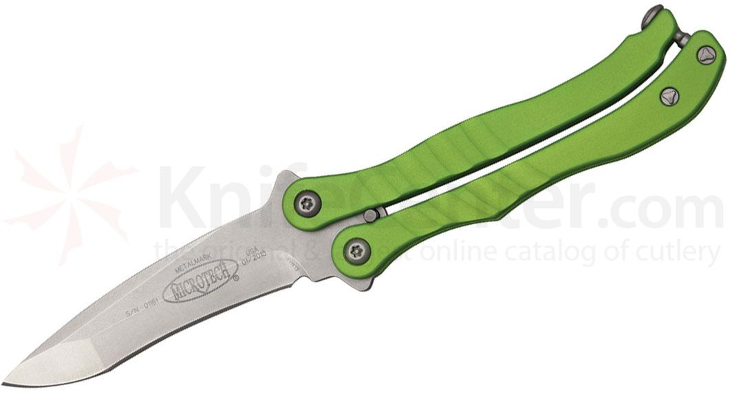 Microtech 170-10ZG Metalmark Bali-Song 3.9 inch Stonewashed Plain Blade, Zombie Green Aluminum Handles