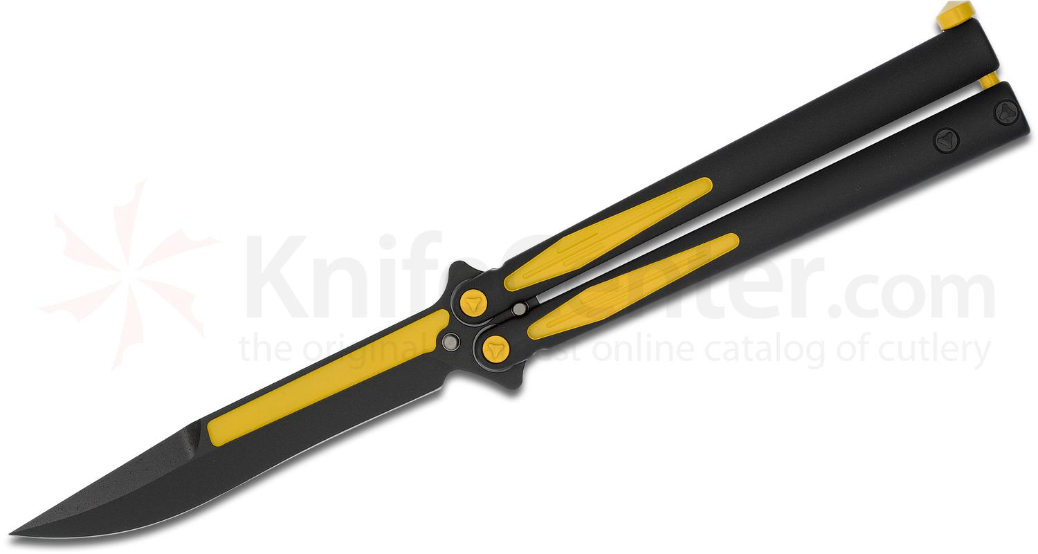 Microtech Special Batman Tachyon III Balisong Butterfly Knife 4.5 inch Black DLC ELMAX Bowie Blade and Aluminum Handles with Yellow Accents