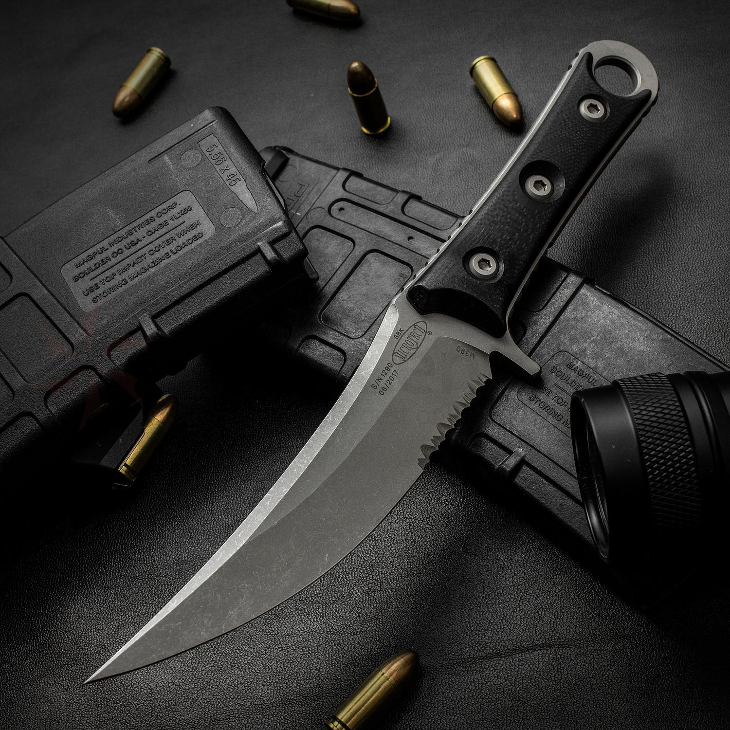 Microtech/Borka Blades 200-11AP SBK Fixed 5.1 inch Apocalyptic Combo Blade, G10 Handles, Kydex Sheath