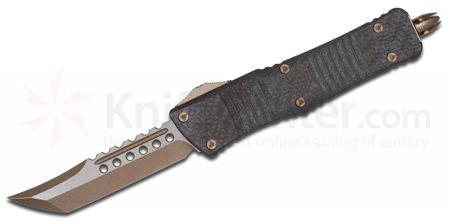 Microtech Special Combat Troodon AUTO OTF 3.75 inch Bronze Hellhound Tanto Blade, Carbon Fiber/Aluminum Handles