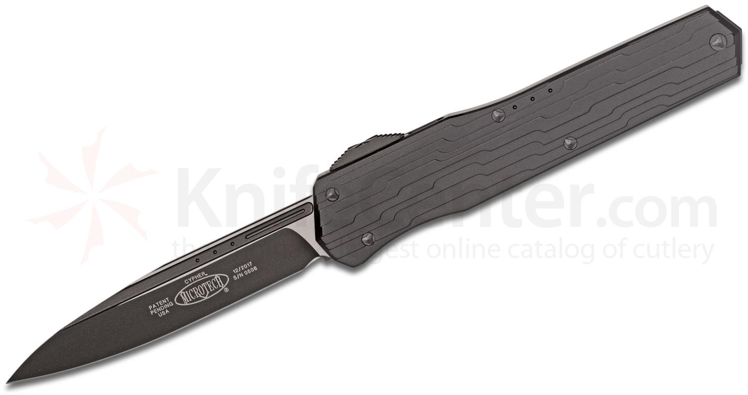 Microtech/DC Munroe 241-10 Cypher OTF Tactical AUTO 4.125 inch Black Drop Point Blade, Milled Black Aluminum Handles