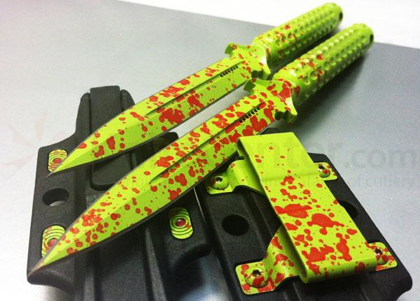 Microtech 115-2Z Zombie Green Spear Point ADO Fixed 4.5 inch Drouble Combo Edge Blade, Hollow Handle