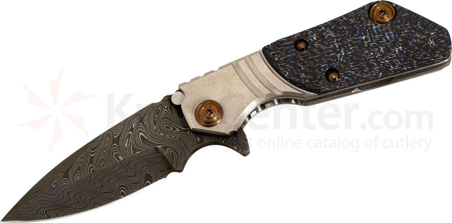 Mikkel Willumsen/Duane Dwyer Custom Collaboration 3.5 inch Chad Nichols Damascus Blade, Titanium Handles with Lightning Strike Carbon Fiber Inlay