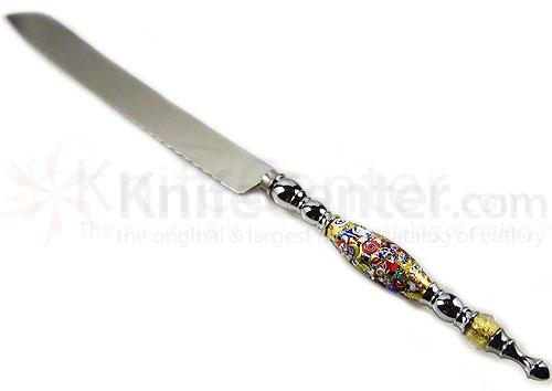 Murano Glass World Cake Knife, Klimt