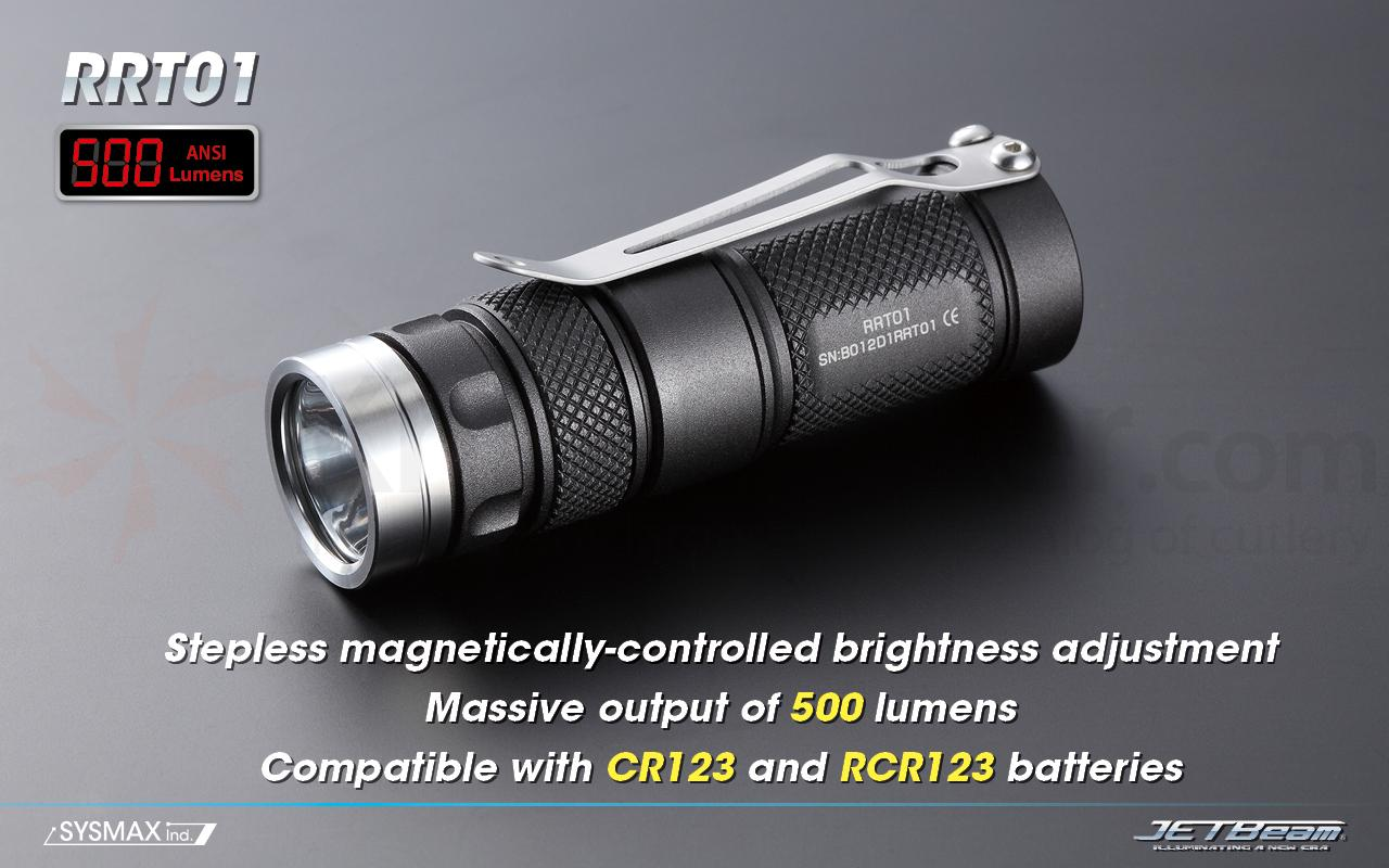 JETBeam RRT-01 Aluminum LED Flashlight CR123A, 500 Max Lumens