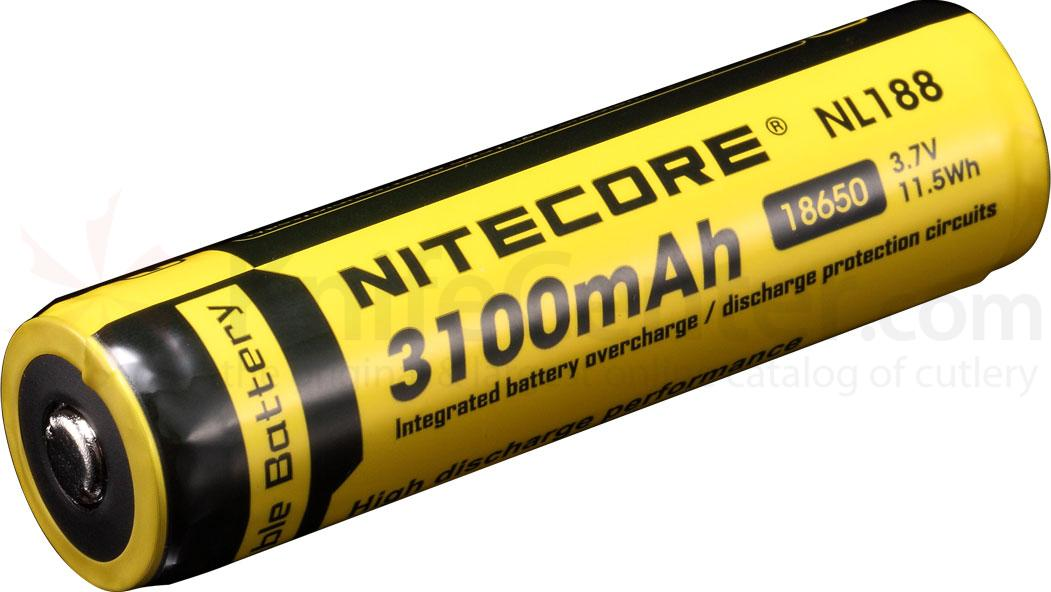 NITECORE NL188 18650 Rechargeable Lithium Battery, 3100mAh