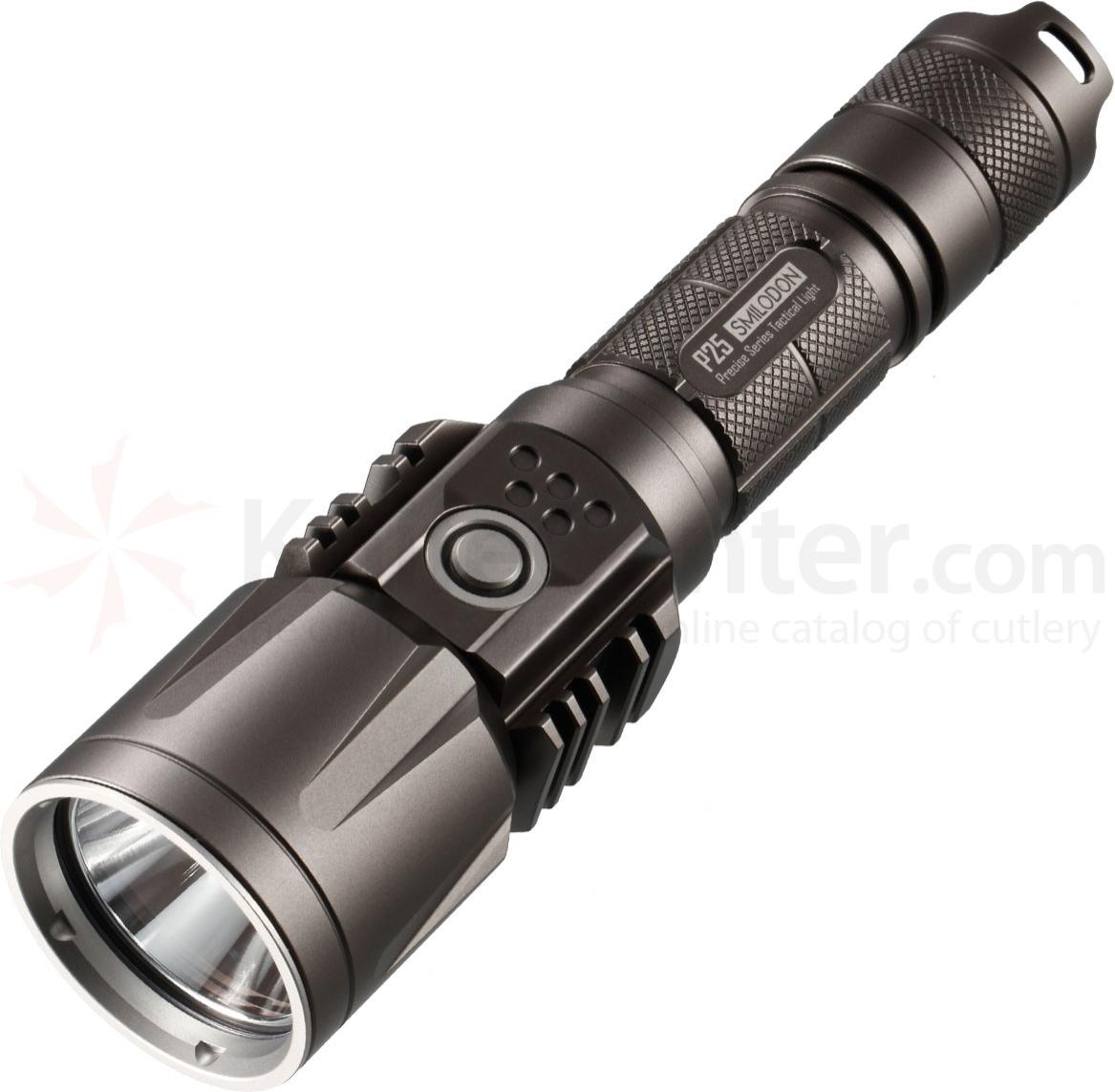 NITECORE P25GR Precise Smilodon Rechargeable 18650 LED Flashlight, Gray, 860 Max Lumens