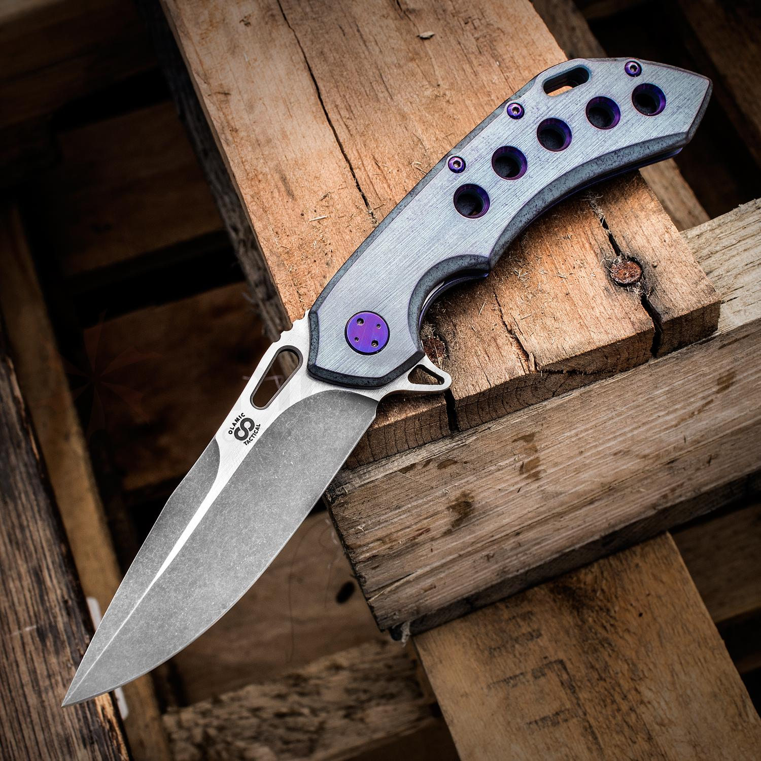 Olamic Cutlery Mid-Tech Wayfarer 247 Flipper 3.45 inch Two-Tone M390 Blade, Kinetic Sky Titanium Handles with Hole Pattern