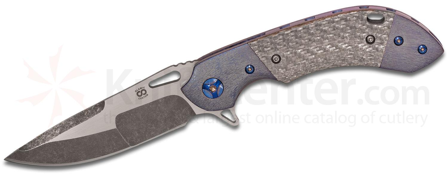Olamic Cutlery Custom Wayfarer Compact WC195 Flipper 3.5 inch CTS-XHP Compound Ground Blade, Silver Twill Handles with Dual Kinetic Sky Titanium Bolsters