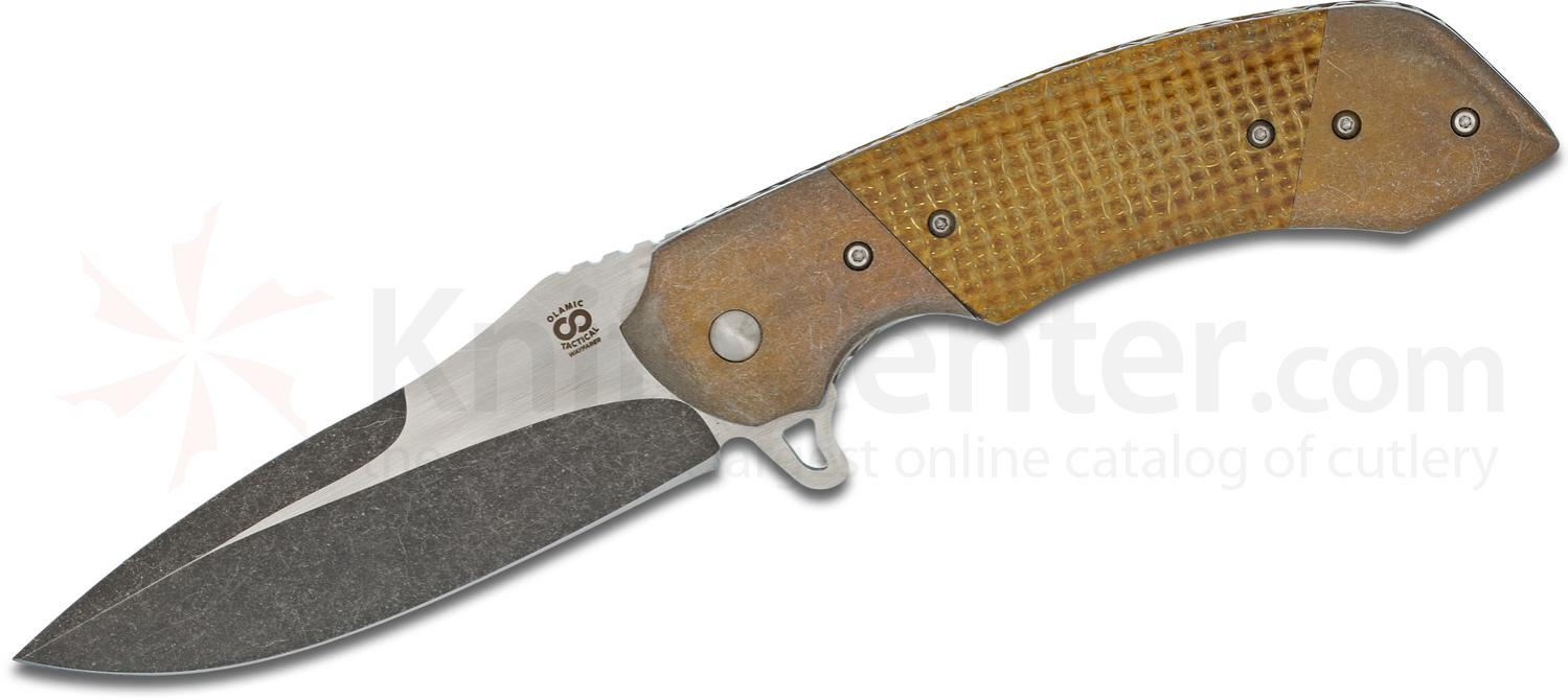 Olamic Cutlery Custom Wayfarer W1005 Flipper 4 inch CTS-XHP Two-Tone Blade, Thunderstorm Kevlar Handles with Dual Bronze Titanium Bolsters