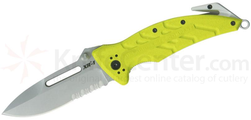 Ontario XR-1 Xtreme Rescue Folding Knife 3.375 inch Bead Blast Combo Blade, Safety Green Zytel Handles
