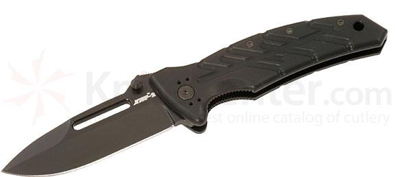 Ontario XM-2T Slim Line Extreme Military Folding Knife 3.375 inch Plain Blade, Black Aluminum Handles