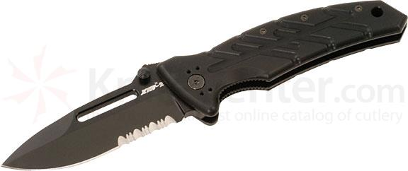 Ontario XM-2TS Slim Line Extreme Military Folding Knife 3.375 inch Combo Blade, Black Aluminum Handles