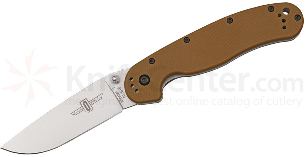 Ontario RAT Model 1 Folding Knife 3.6 inch Satin Plain Blade, Coyote Brown Nylon Handles