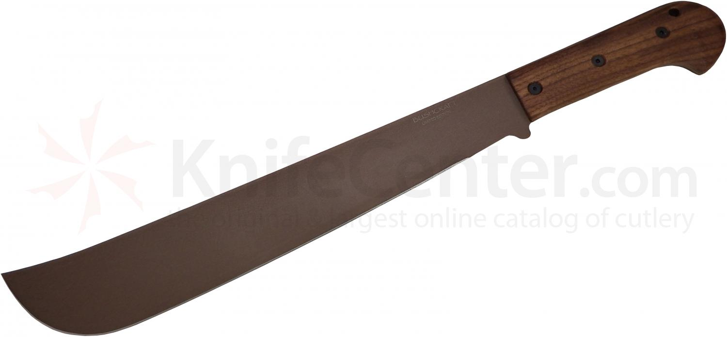 Ontario Bushcraft Machete Coyote Brown Powdercoat 16 inch 5160 Carbon Blade, Walnut Wood Handle, DeSantis Nylon Sheath