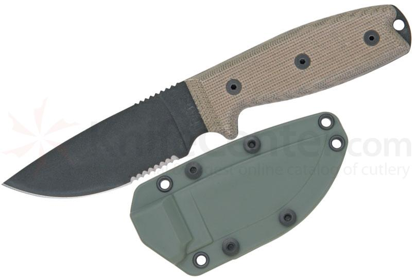Ontario RAT-3 Utility Knife 3-3/4 inch Combo Blade, Micarta Handles, OD Green Sheath (8633)