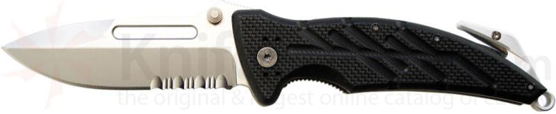 Ontario XR1 (Black) Xtreme Rescue Tool 3.375 inch Combo Edge, Glass Breaker and Strap Cutter