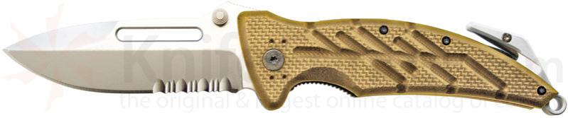 Ontario XR1 (Tan) Xtreme Rescue Tool 3.375 inch Combo Edge, Glass Breaker and Strap Cutter